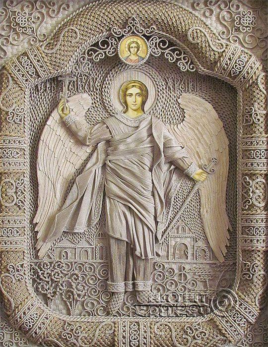 macrame, macrame art, St. Nicolas icons, icons art, religious icons, russian religious icons, icons art. Applied art. Guardian Angel. Denshchikov Vladimir