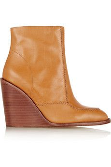 See by Chloé Leather wedge ankle boots | THE OUTNET
