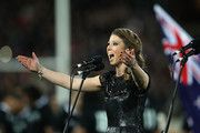 Elizabeth Marvelly sings the New Zealand national anthem for the Bledisloe Test. August 24, 2013.