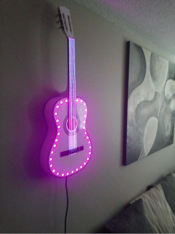 LED Acoustic Guitar. Great for any music lover, musician, bar, rec room and more..