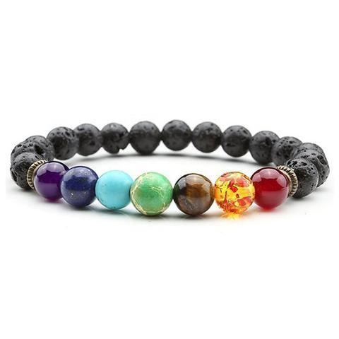 Seven Chakra Bracelet Coloured Beads Surrounded by Lava  #chakra #asana #buddhism #yoga #spirituality #healing #crystal #bsq  #bracelet #jewelry #style #health #protection