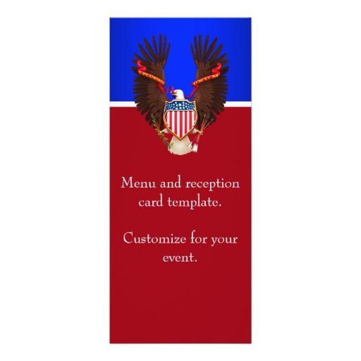 red white and blue patriotic wedding menu card - Patriotic Wedding Invitations