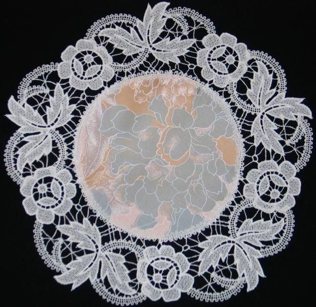 Advanced Embroidery Designs - FSL Battenberg Rose Lace Doily