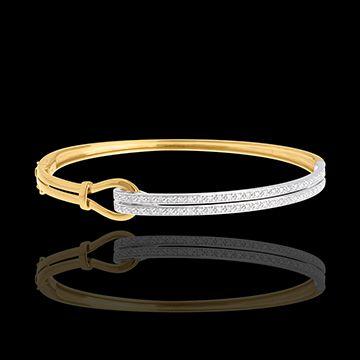 vente en ligne Double jonc agrafe or jaune- or blanc pavé - 0.32 carats - 54 diamants