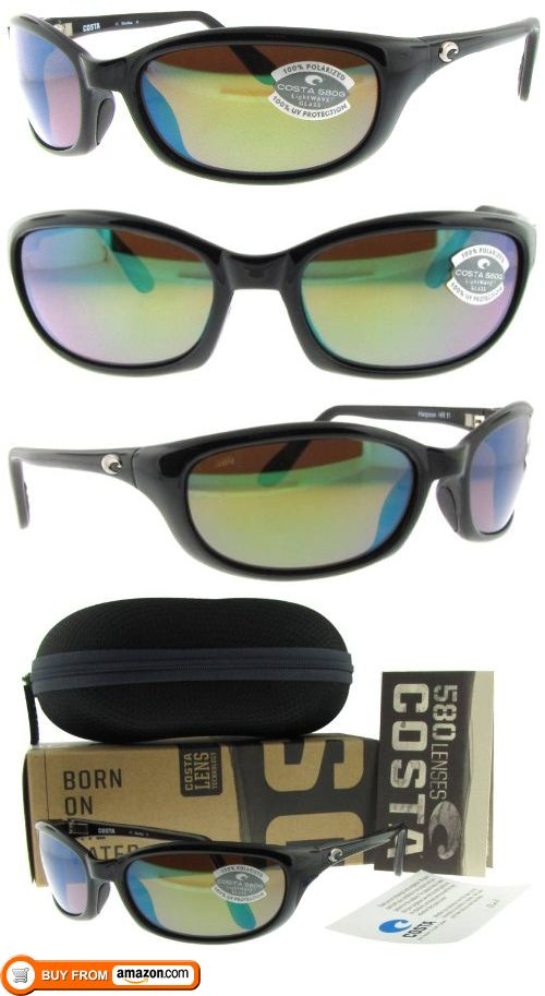Costa Del Mar Harpoon Black W/ Green Mirror Polarized 580G Glass Lens