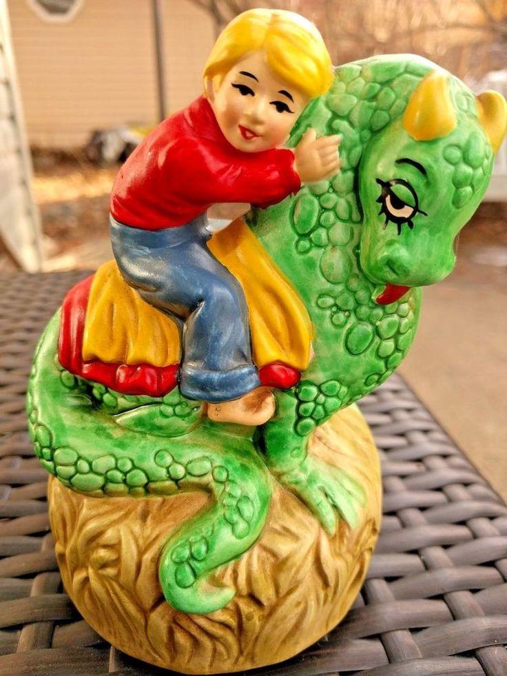 Vintage 1974 spinning Porcelain nursery Music Box Plays Puff The Magic Dragon