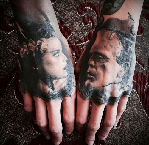 frankenstein's monster & bride of frankenstein hand tattoos.