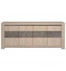 Bahut moderne 4 portes coloris mélèze sablé et béton foncé
