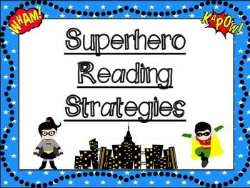 Here is a set of superhero themed reading strategy poster. This set includes a title page and the following reading strategies. Predict Monitor Clarify Summarize Visualize Question Make Connections This set matches many other superhero themed items in my store...check them out!
