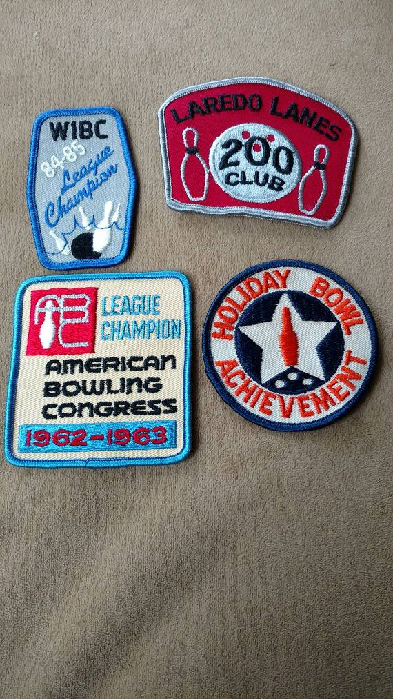 Bowling// retro patches // vintage patches// bowling league// denim jacket// lot of four // Xmas gift// accessories// sewing by truthorwear. Explore more products on http://truthorwear.etsy.com
