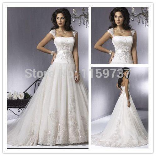 На заказ винтаж вышивка тюль свадебные платья узелок вернуться линия кружева свадебные платья на заказ