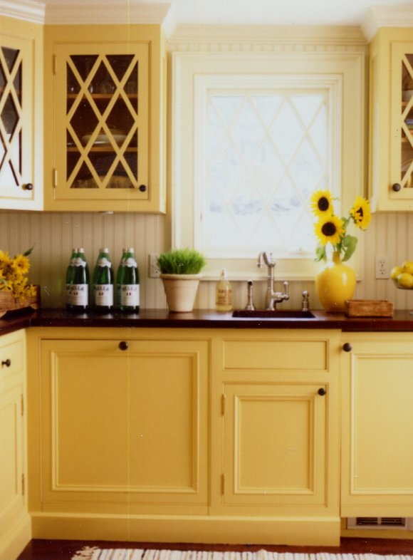Pantry in country farmhouse kitchen by brooksfalitco at for Country kitchen paint colors