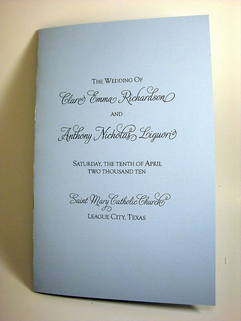 Bells Bouquets And Galveston Bay Catholic Wedding Programs For A Non M