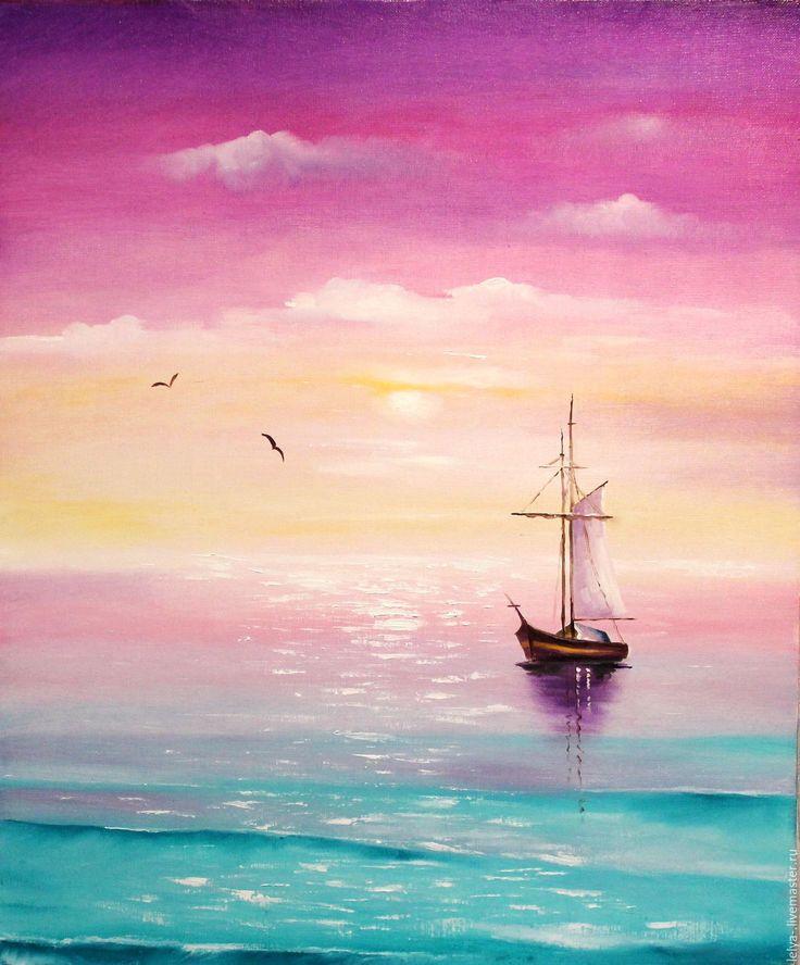 Купить Картина маслом Море счастья - комбинированный, голубой, нежный, нежно-розовый, нежно-голубой