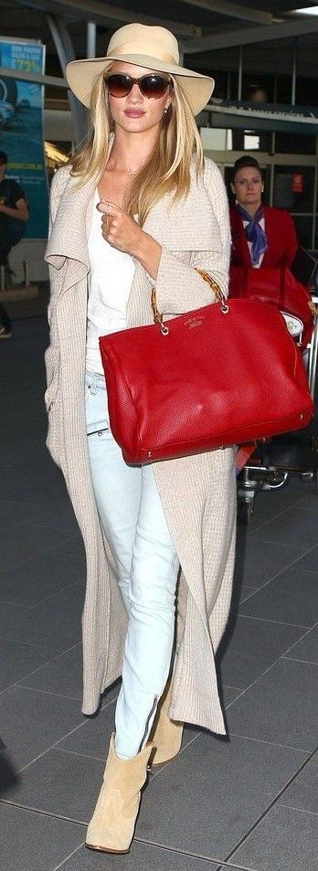 #spring #summer #celebrity #fashion #outfitideas |  Neutrals + Pop Of Punchy Red | Rosie Huntington-Whiteley