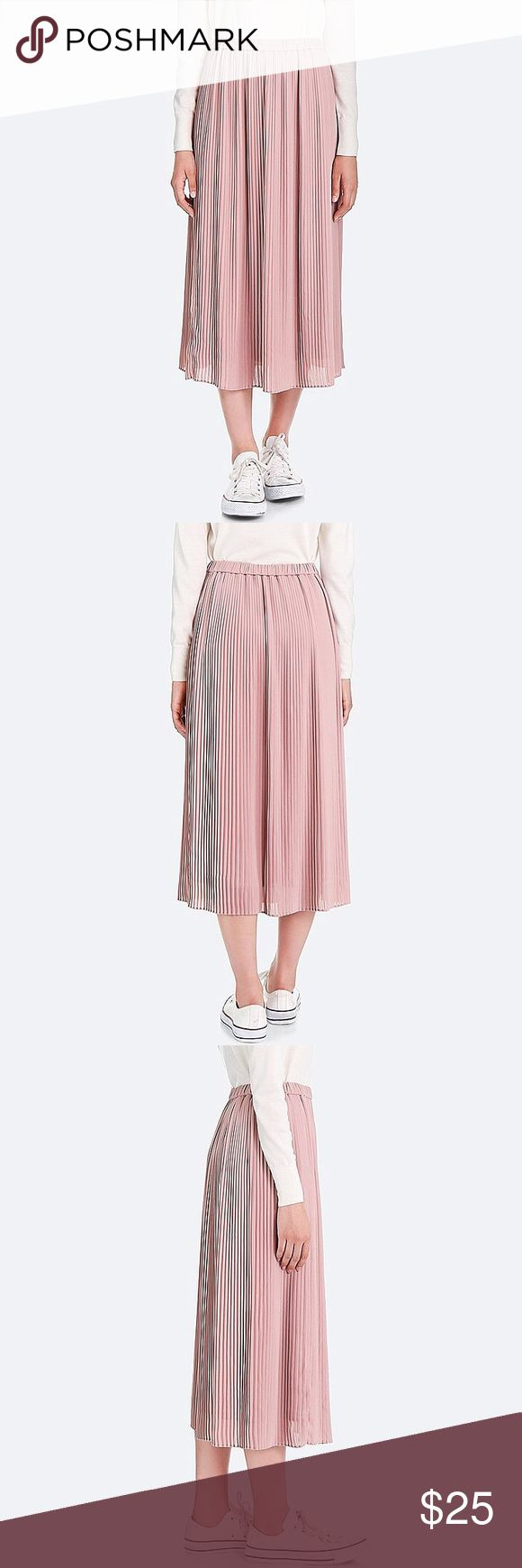 High-Waist Chiffon Pleated Skirt Beautiful Light and airy skirt with elastic waistband. Available in rose pink and black! Both size M. Waist is 28-29in. Length is 33.5in NWT! Uniqlo Skirts Maxi