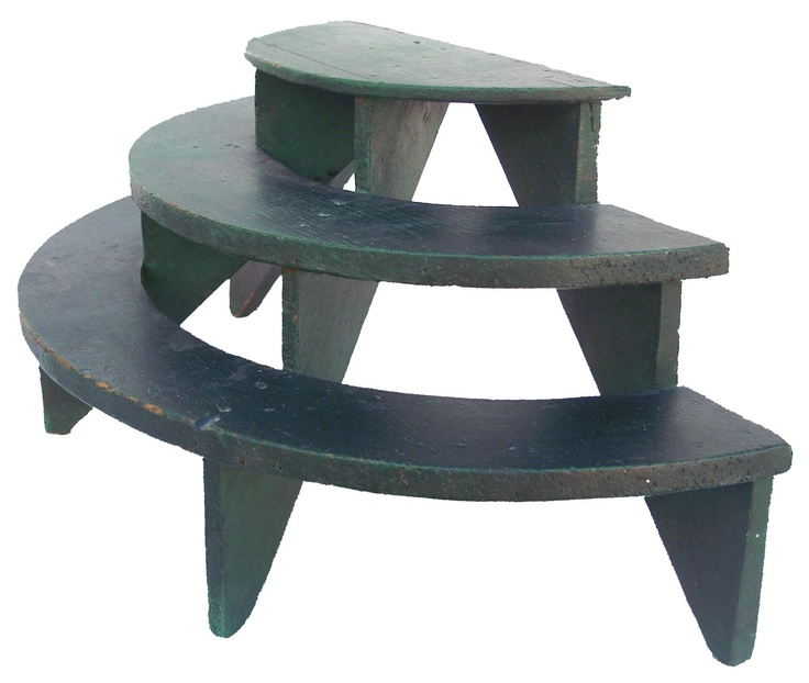 Miniature, three tiered, wooden plant stand in wonderful dry windsor green paint