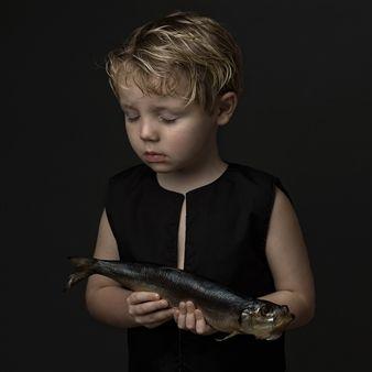 "Julija Levkova, ""Young Boy with a Fish"" | Digital Photography | SOLD | Agora Gallery | Contemporary Fine Art | NYC, NY"