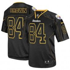 NFL Mens Elite Nike  Pittsburgh Steelers #84 Antonio Brown Lights Out Black Jersey$129.99