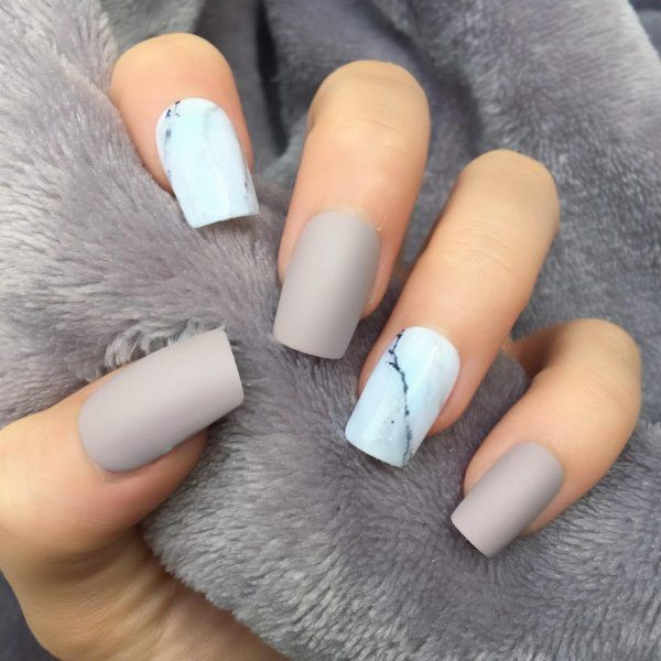 Taupe Matte Marble Short Square Short Acrylic Nails Designs Square Nail Designs Square Nails