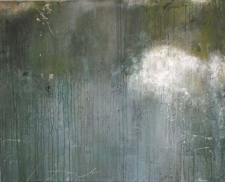 "Lagoon Moon, Susanne Carmack, Mixed media on canvas 48x60"" 2013"