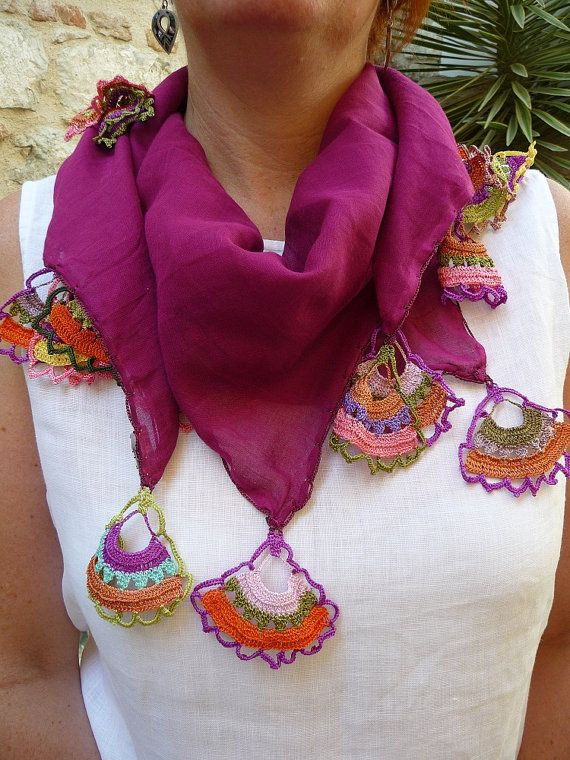 Mulberry Cotton Voile Square Scarf with Hand Crocheted Multicoloured Fan Shaped Edging