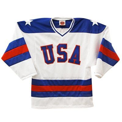 USA Hockey 1980 Olympic Throwback Replica Game Weight Jersey - White