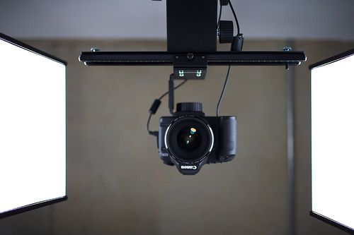 A table's-eye-view of our rostrum camera