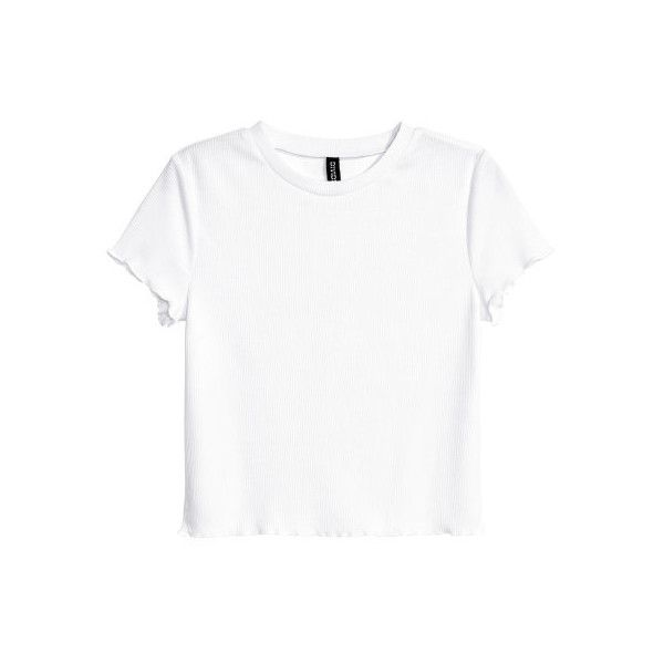 H&M Ribbed Top $6.99 ($6.99) ❤ liked on Polyvore featuring tops, short sleeve tops, ribbed top, white top, white short top and white short sleeve top