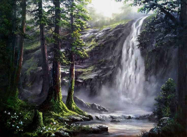 """Misty Forest Waterfall"" by Kevin Hill Check out my channel on Youtube: KevinOilPainting This painting is available as a DVD on my website: www.paintwithkevin.com"