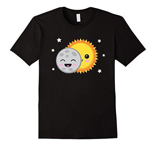 Cute Cartoon Solar Eclipse T-Shirt - Kawaii Astronomy Space shirt by Tigerlynx, from Amazon. Also available with the date 08-21-17 to commemorate the 2017 US eclipse. See men's, women's and kids styles & other colours at  https://www.amazon.com/dp/B0742FVGV9/ref=cm_sw_r_pi_dp_x_wVgCzbR26TKMF