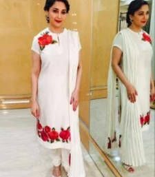 Buy White embroidered Cotton semi stitched salwar with dupatta Online