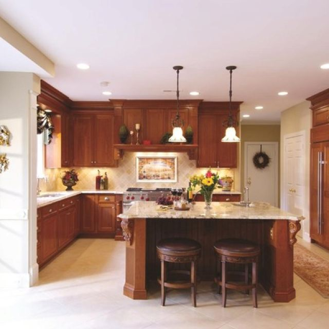 Love the granite color on the cherry cabinets kitchen for Kitchen color ideas with cherry cabinets