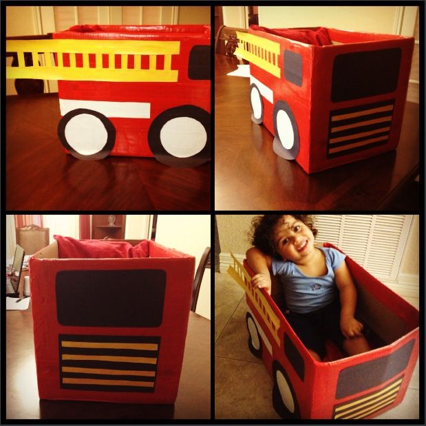DIY: Take a cardboard box and design it into any car you'd like! Great for movie nights or when watching tv. My brother loves sitting down and eating with us during movie nights, and now he can do it in his little firetruck!