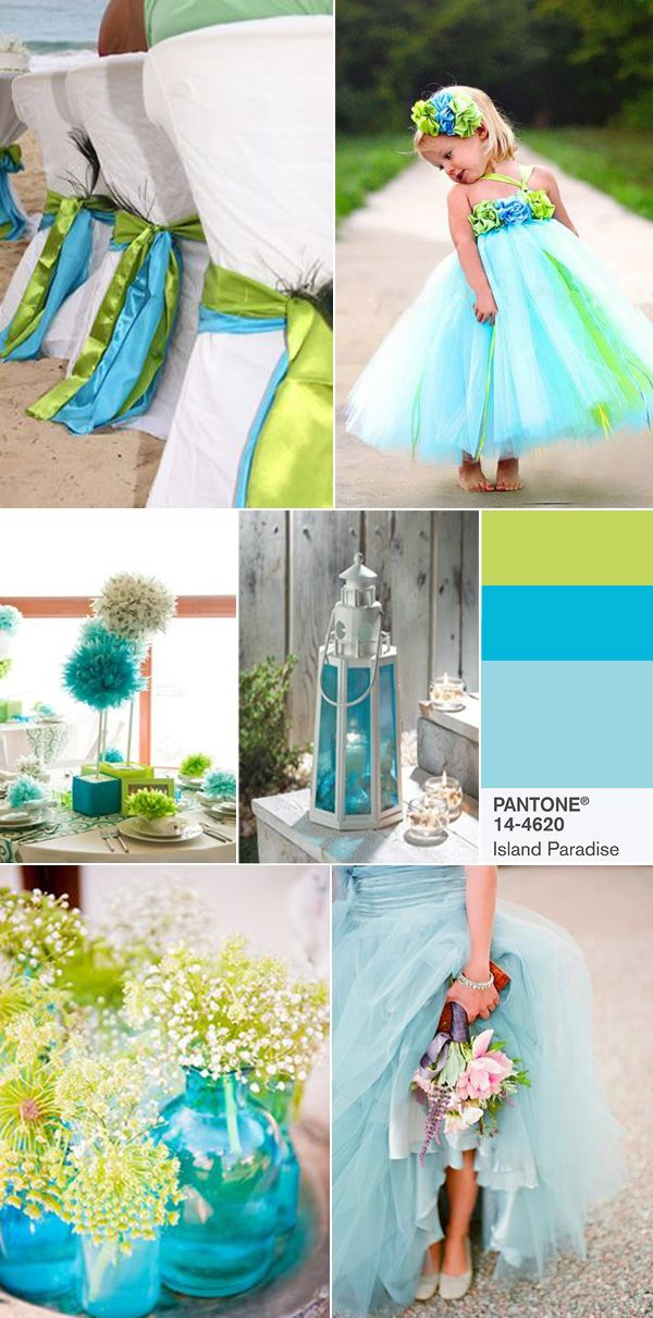 pantone island paradise and lime green fashion wedding colors