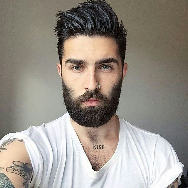 Great hair, tatts & nose ring... Prefer less facial hair though!