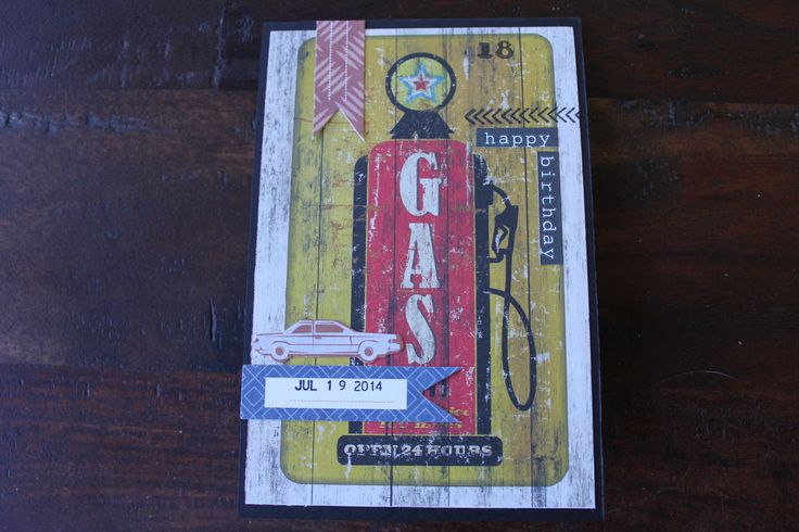 Male card using Kaisercraft Garage Days Wheel Alignment paper and collectables. Quick and easy to make..