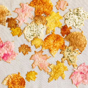 Colorful Falling Leaves Crackers:   Spice up wonton wrappers with curry, dill, basil, and juice from a can of beets. Use cookie cutters to make leaf shapes, spritz them with spray oil, and brush on one or two flavorings. Sprinkle with sea salt and bake at 400 degrees for about 4 minutes.