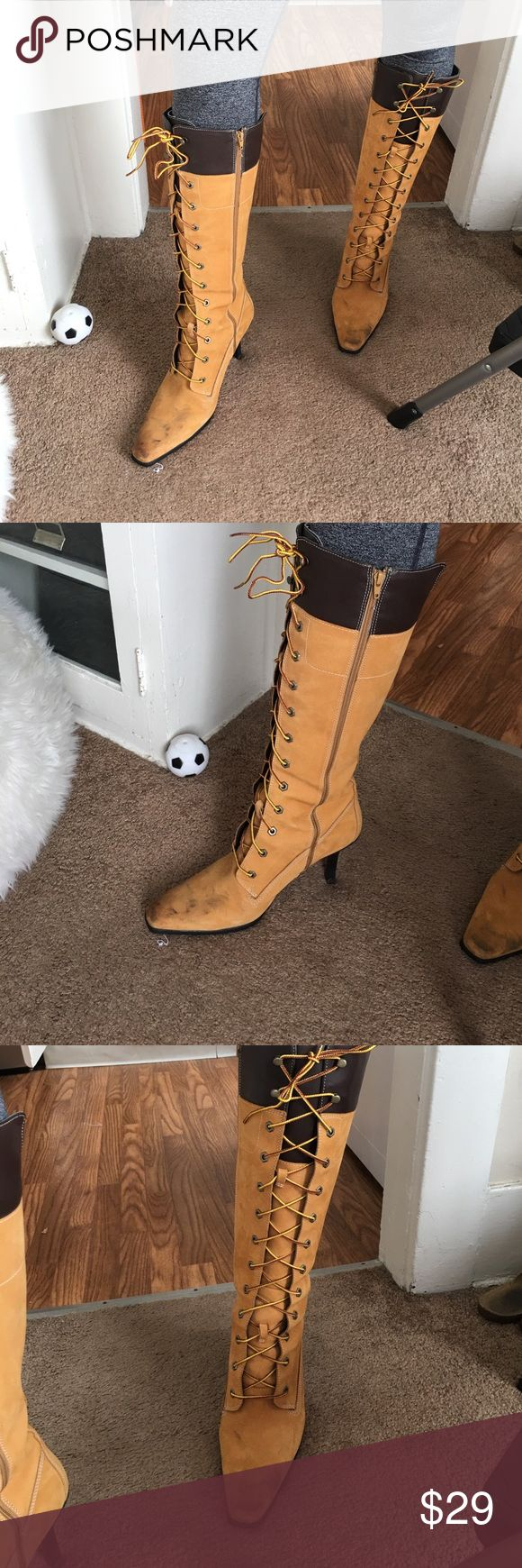 Tomb high heels! Tan timberland high heels. Few scuffs so they come as is! (Could probably be easily cleaned) Timberland Shoes Heeled Boots