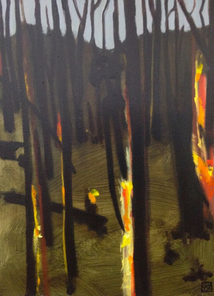 After the bush fire Tamara the protector - oil on canvas - (40 x 30 cm) available