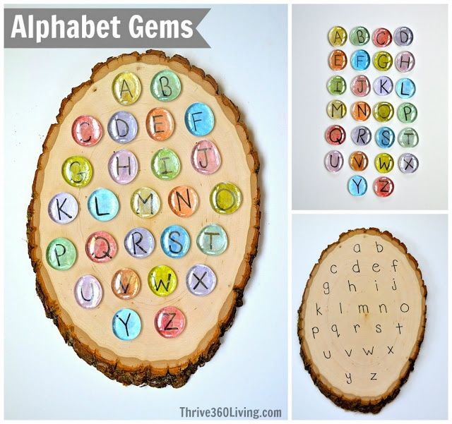 Alphabet Gems ~ Great DIY game for matching upper and lower case letters.  Perfect for learning letters