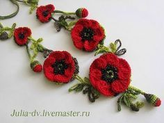 Вязание ветки с цветами и листьями - YouTube