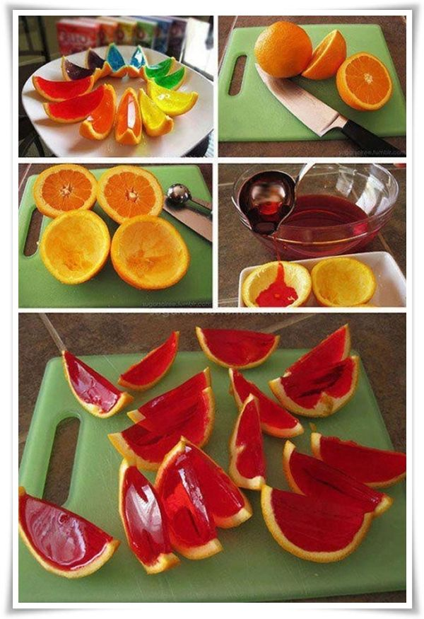 creative Jell-O. Have done this on a large scale with watermelon for hippos.
