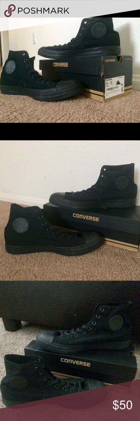 Brand New Men's Converse Size 10 With Box Authentic BRAND NEW Converse for men. Size 10. Black monochrome. Still in its original box.   **NOTE THAT THIS IS A BRAND NEW PAIR OF MEN'S SHOES, NEVER BEEN WORN, WITHOUT TAGS, COMES WITH ITS ORIGINAL BOX. Converse Shoes Sneakers