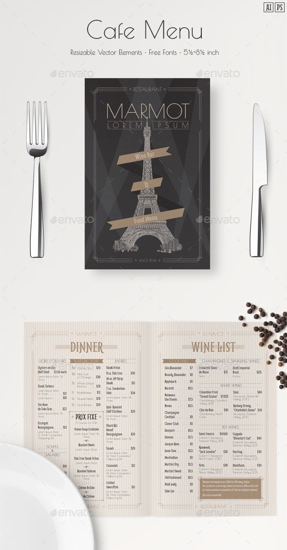 17 best ideas about french restaurant menu on pinterest for French cafe menu template
