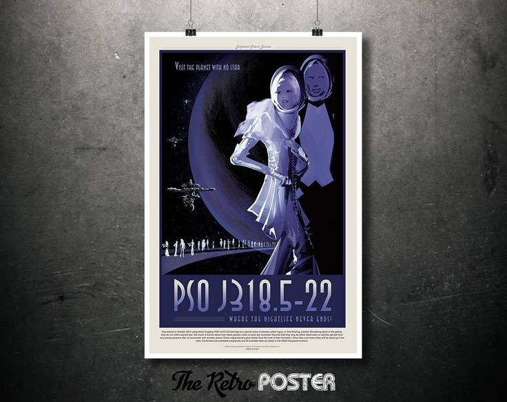 NASA Space Travel Poster - PSOJ318.5-22 Where The Nightlife Never Ends - Father's Day Gifts for Dad Retro Sci Fi Fantasy Space Age Art Print by TheRetroPoster on Etsy