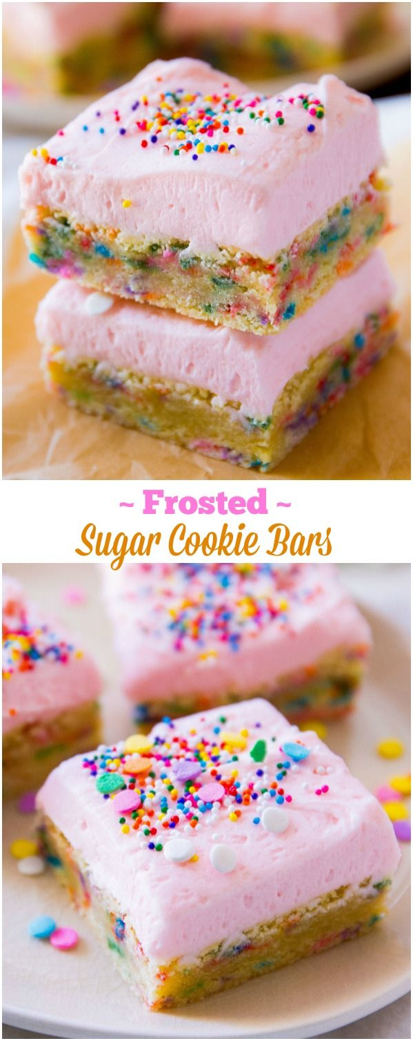 My favorite sugar cookie bars loaded with frosting and extra sprinkles. Cornstarch makes them extra, extra soft! @Sarah Chintomby Chintomby Chintomby Chintomby Chintomby Hicks