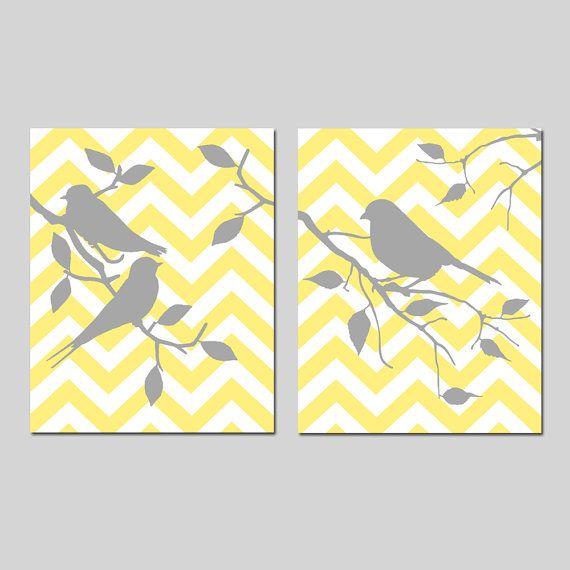 Uccelli di Chevron - Set di due 8 x 10 stampe - bagno, scuola materna, cucina - Scegli i tuoi colori - mostrati in grigio, giallo e altro ancora