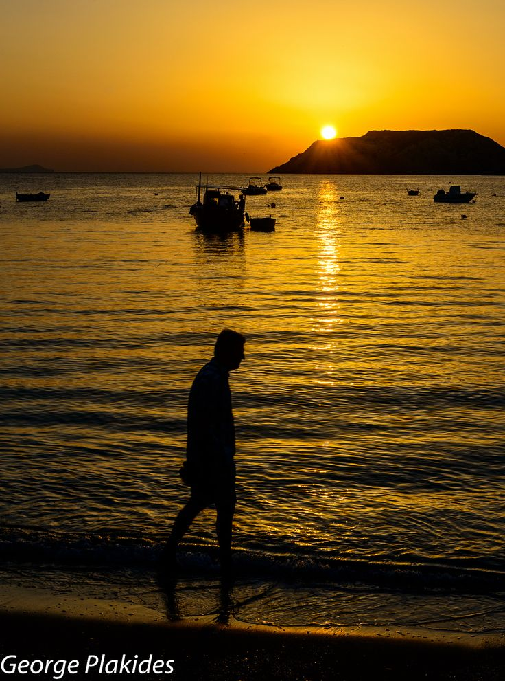 Sunset in Agia Pelagia, Ammoudi, Crete_ Greece