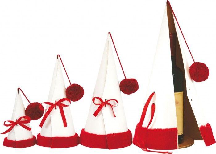 1044 Tuby Czapki Św. Mikołaja - BIAŁE + czerwone futerko
